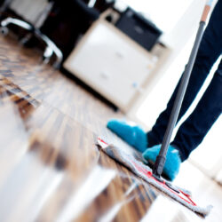 Woman cleaning wooden domestic floor with a flat mop